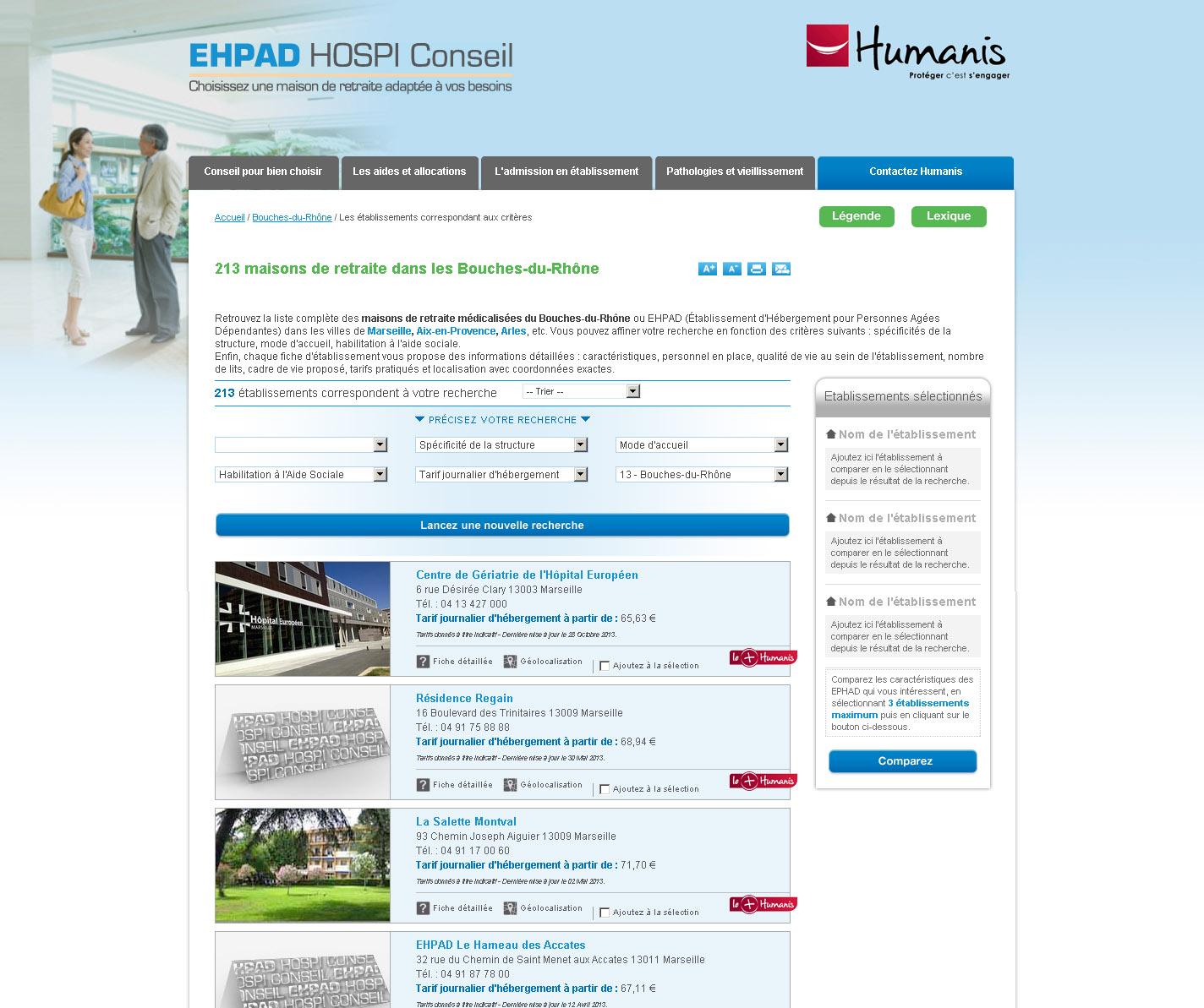 Comparateur Ehpad - Résultats de recherche