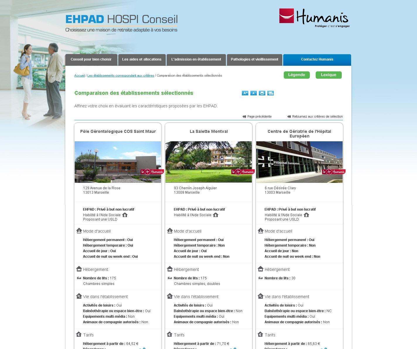 Comparateur Ehpad - Comparaison d'établissements