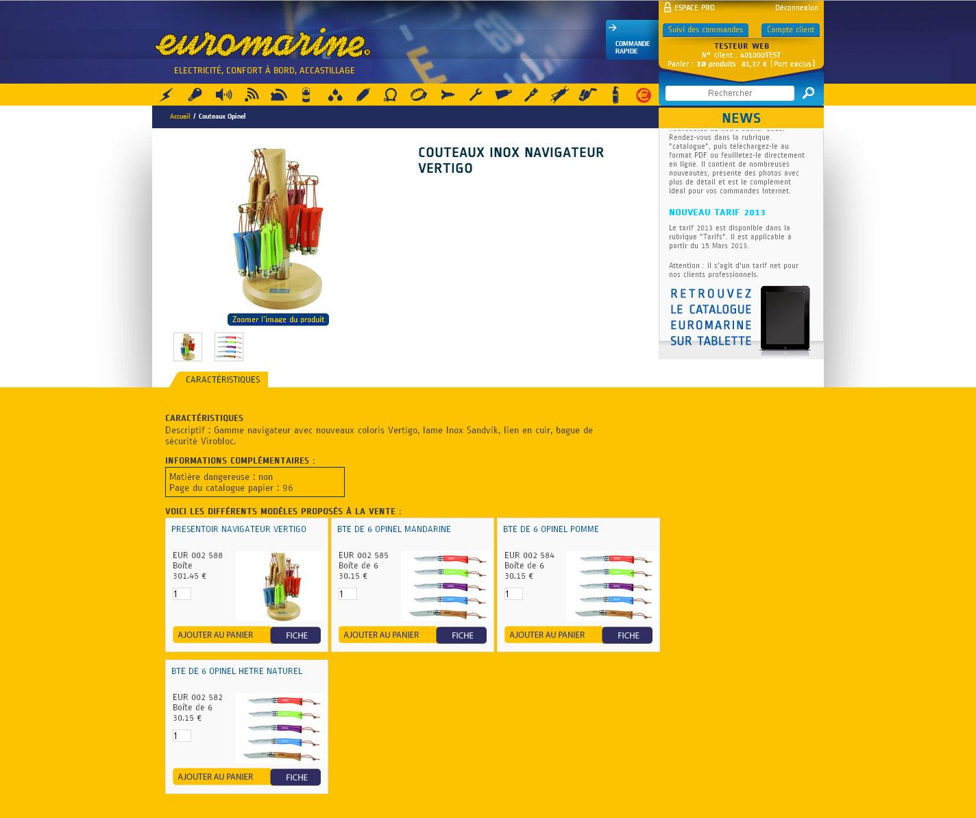 EUROMARINE - Page produit