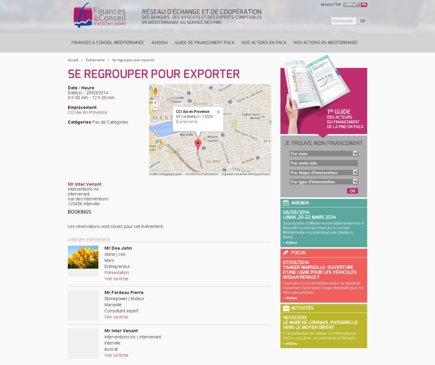 Finances Conseil Méditerranée - Localisation d'événement