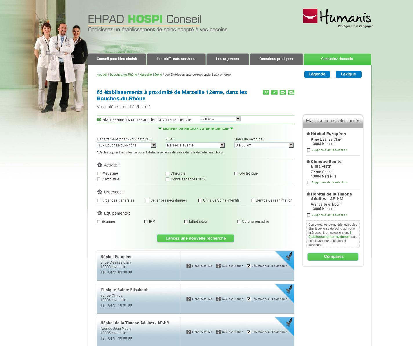 Comparateur d'hôpitaux - Recherche avancée