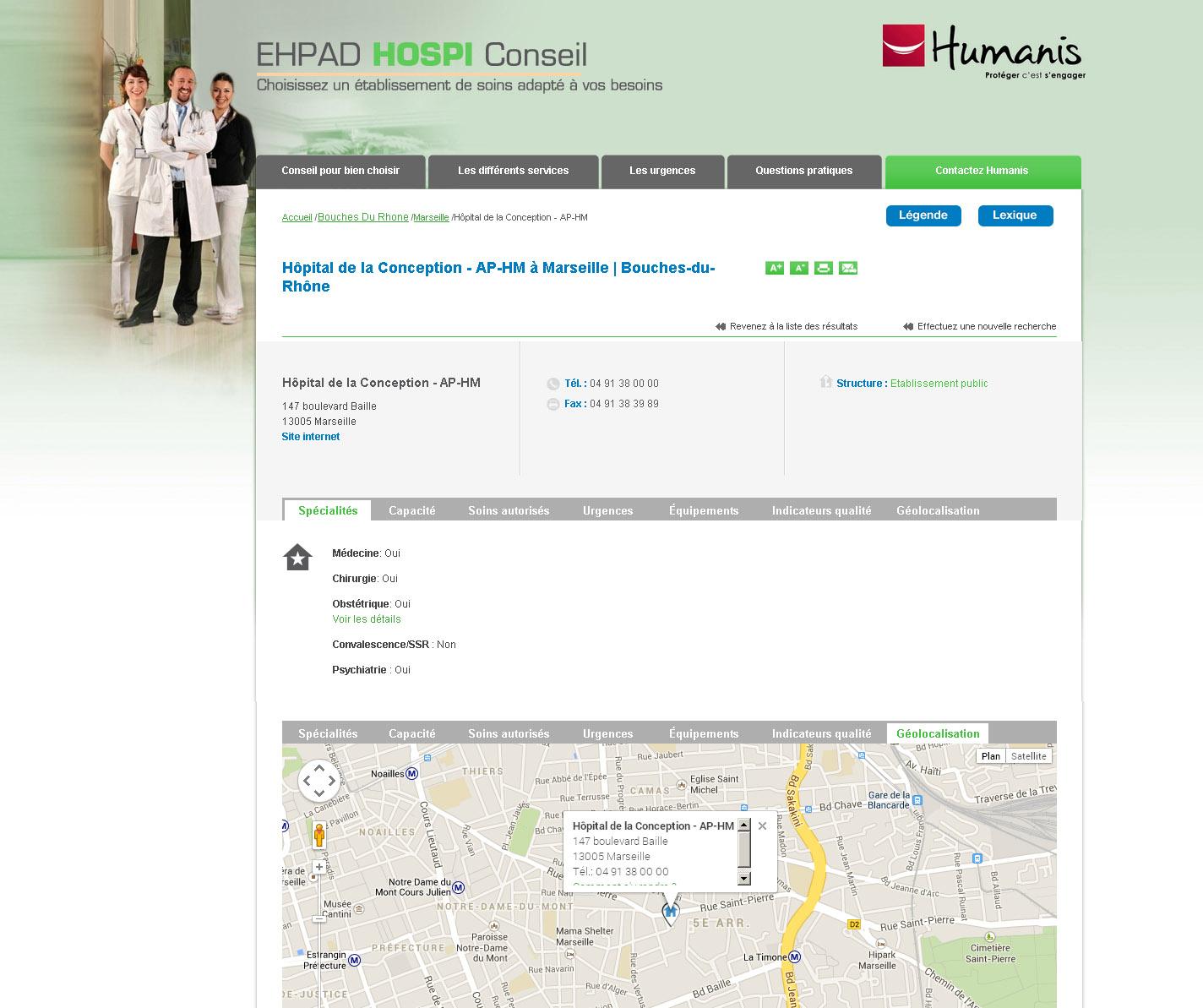 Comparateur d'hôpitaux - Fiche établissement